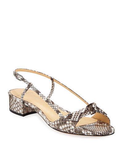 Clarita Python Slingback Bow Sandals