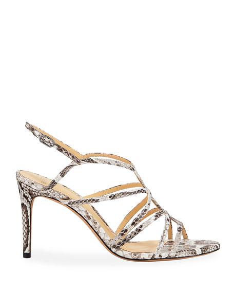 Emma Python Caged Mid-Heel Sandals