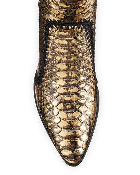 Benta Metallic Python Stitched Booties