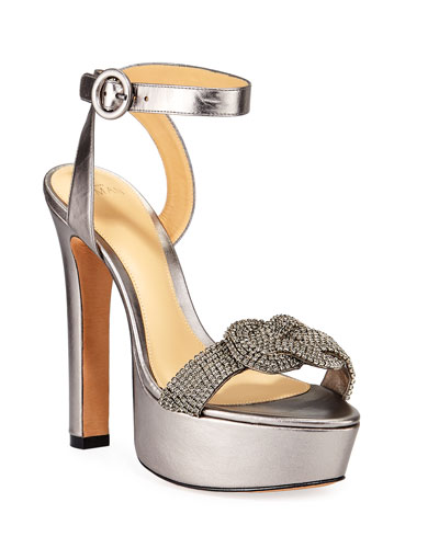 Vicky Metallic Crystal Platform Sandals