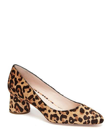 Leopard-Print Mid-Toe Pumps