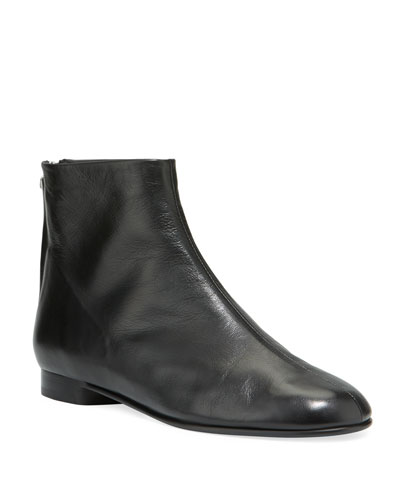 Nadia Flat Leather Ankle Booties