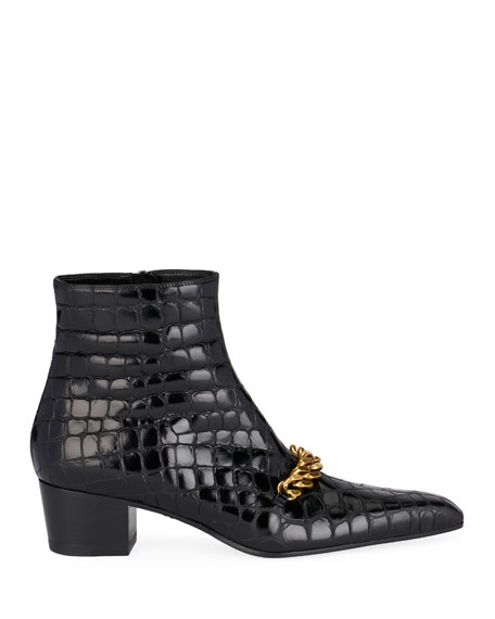 Crocodile-Print Chain Ankle Booties