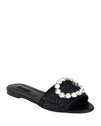 Raffia Crystal Flat Sandals