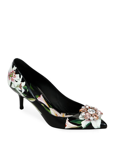 Flower Leather Slingback Pumps  Black