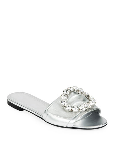 Metallic Crystal Flat Sandals