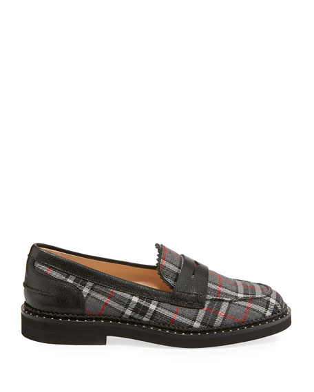 Tartan Plaid Stud-Trim Penny Loafers