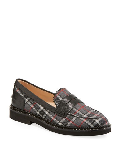 c19d5dda0d5 Promotion Tartan Plaid Stud-Trim Penny Loafers Quick Look. Tod s
