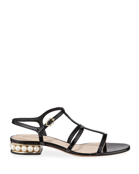 Casati Sandals with Pearly Heel, Black