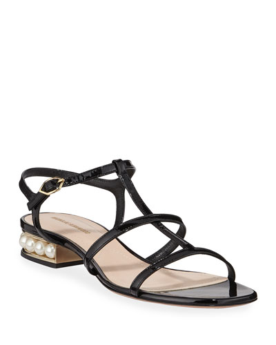 Casati Sandals with Pearly Heel  Black