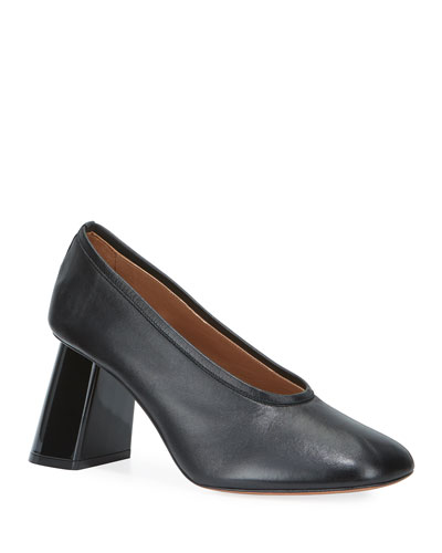 Napa Leather Tilted-Heel Pumps