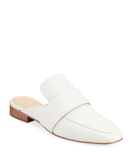 Aslen Flat Leather Loafer Mules