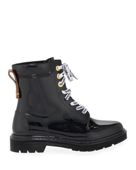 Rubber Lace-Up Rain Boots
