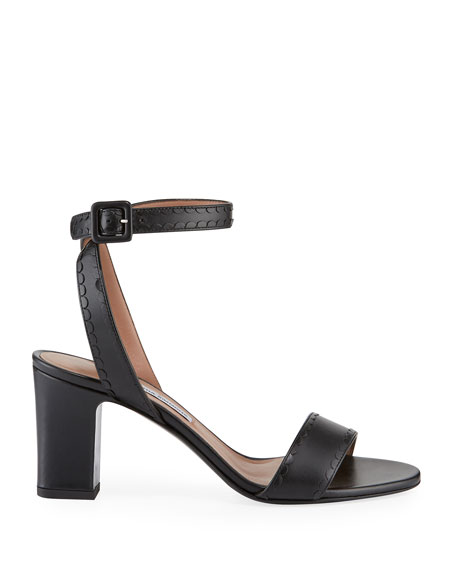Leticia Ankle-Wrap Frilled Leather Sandals