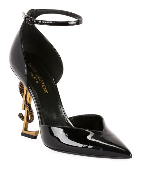 Saint Laurent Opyum Serpent Logo-Heel Sandals