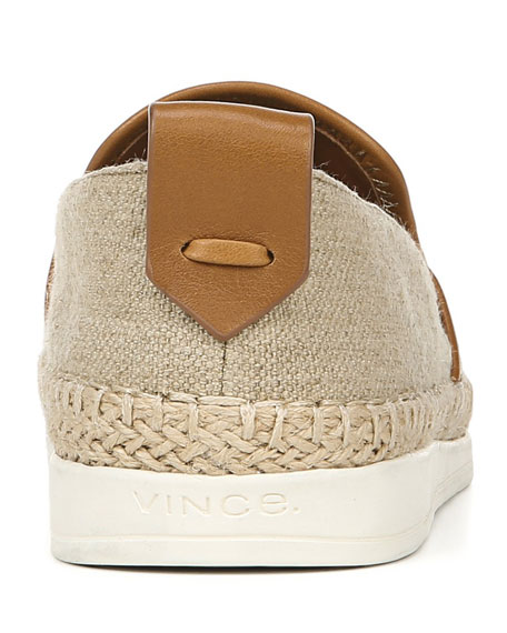 Silas Linen & Leather Slip-On Sneakers