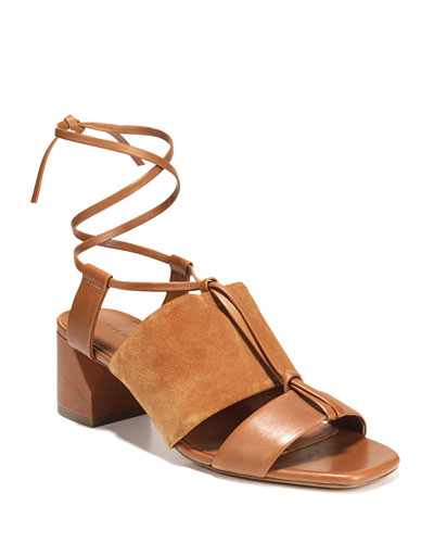 Dunaway Mixed Self-Tie Sandals  Brown