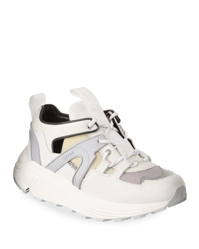 Tech Runner Leather Cutout Sneakers