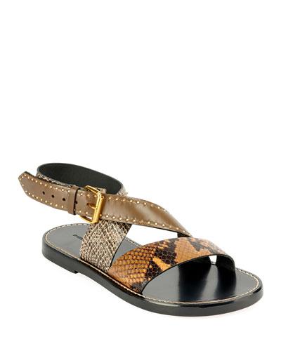 Juzee Flat Snake-Print Crisscross Sandals
