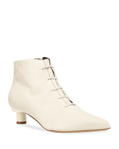 Asher Kitten-Heel Leather Ankle Booties  White