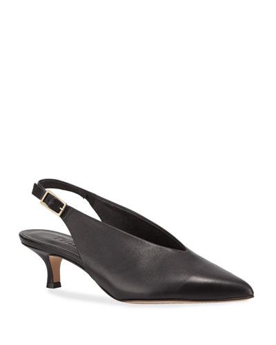 Lia Kitten-Heel Slingback Pumps  Black