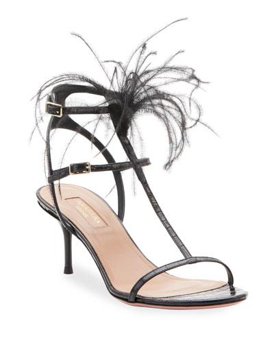 Ponza Strappy Ostrich Feather Sandals