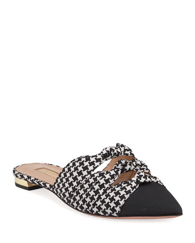Mondaine Flat Houndstooth Mules