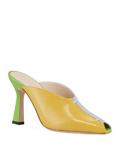 Nival Peep-Toe Colorblock Leather Mules