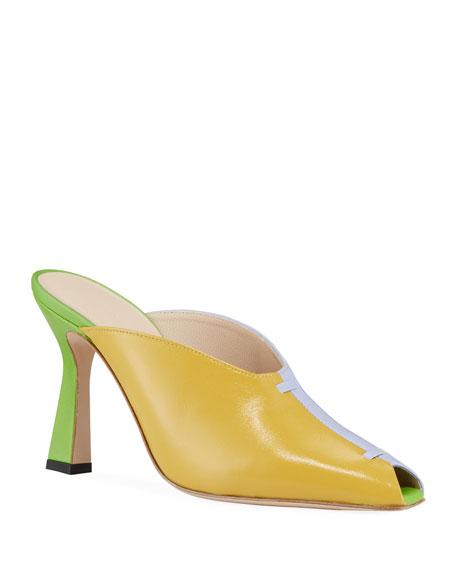 Nival Peep-Toe Colorblock Leather Mules