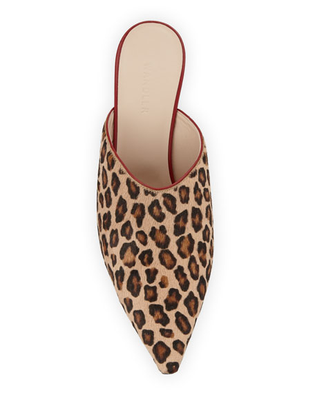 Bente Leopard Calf-Hair Mules