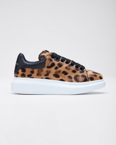 Leopard Calf Hair Platform Sneakers by Alexander Mc Queen