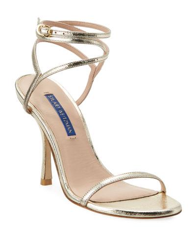 Merinda Strappy Metallic Ankle-Wrap Sandals