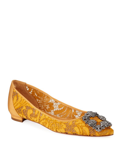 Hangisi Crystal-Buckle Lace Flats