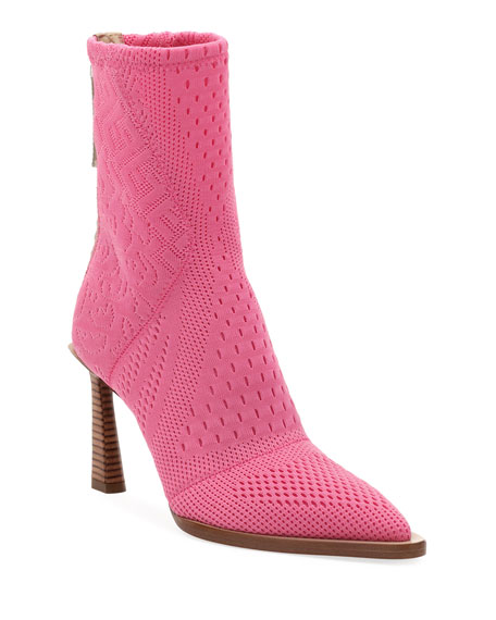 Stretch Knit High Booties by Fendi