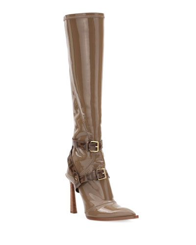 Neoprene To-The-Knee Boots  Brown