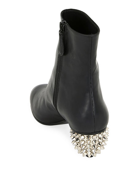 Leather Booties with Spikes