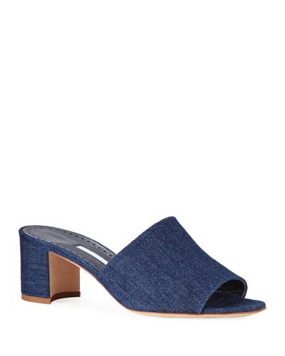 Rapallato Block-Heel Denim Slide Sandals