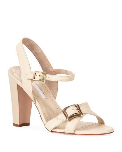 aa7c238aa8ce8 Rioso Leather Block-Heel Buckle Sandals Quick Look. Manolo Blahnik