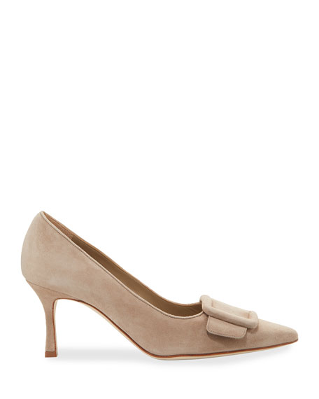 Maysale Suede Pointed-Toe Buckle Pumps