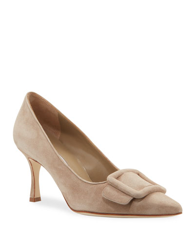 0b0b1c02e12 Maysale Suede Pointed-Toe Buckle Pumps Quick Look. Manolo Blahnik