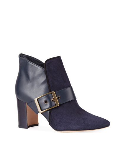 bf4593304a1 Belinba Buckled Suede Ankle Booties