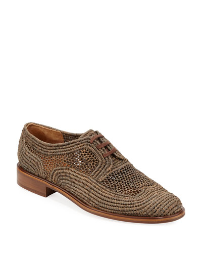 Japaille Raffia Lace-Up Oxfords