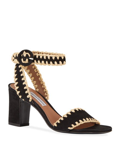 Leticia Whipstitched Suede Ankle-Wrap Sandals  Black