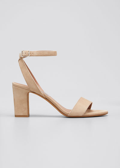 Leticia Suede Ankle-Wrap Sandals  Beige
