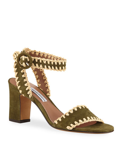 Leticia Whipstitched Suede Ankle-Wrap Sandals  Olive