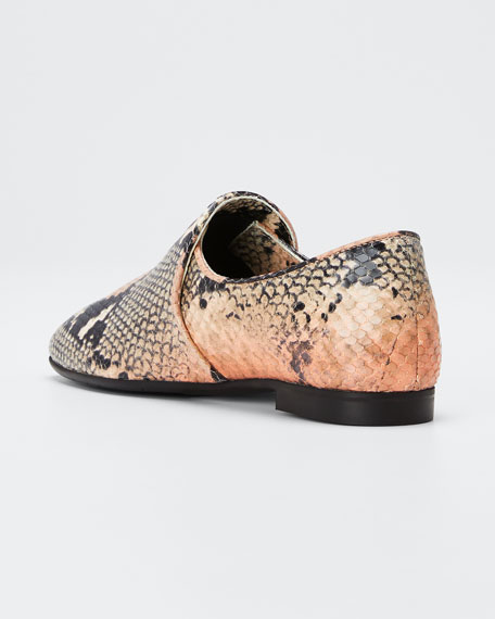 Revy Flat Snake-Print Loafers