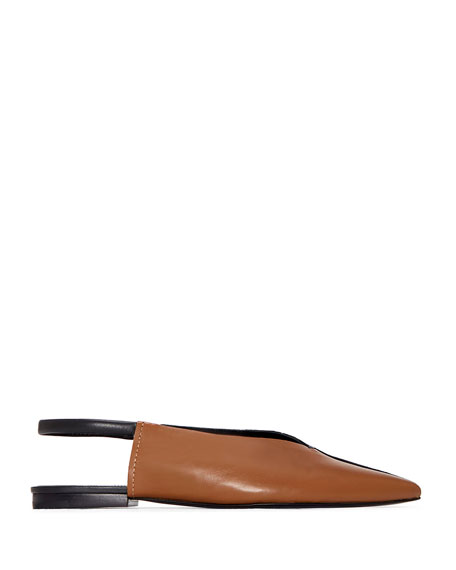 Evetta Silk & Leather Slingback Flats