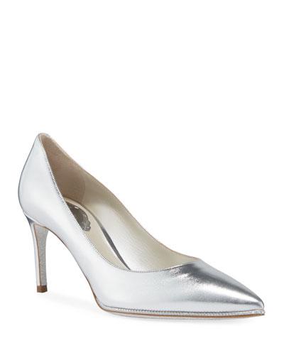 Grace Metallic Leather Pumps  Silver