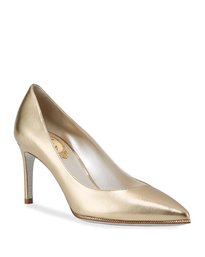 Grace Metallic Leather Pumps  Gold