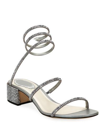 Crystal Snake 40mm Sandals  Silver